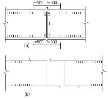 木结构 > 常用的几种钢结构构件的拼接  2)图b将翼缘和腹板的拼接位置