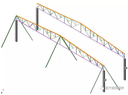 工程概况 本工程总建筑面积为11757m2, 分生产区,辅助区,办公区,锅炉房,粘合剂配合间。 车间屋面钢结构工程。钢结构屋面为轻型屋面梯形钢屋架结构,跨度38M和14.5M,柱距9M。  38m跨桁架上弦杆采用L180X110X12热轧角钢,下弦杆采用L140X90X10热轧角钢。14.5m跨桁架上弦杆采用L90x56x6热轧角钢,下弦杆采用L75x50x5热轧角钢。桁架腹杆采用各种规格不等的热轧角钢。 施工特点与关键:本工程工期要求短、制作量大、单体构件较重、高空安装作业多。该工程的制作过程进度、质