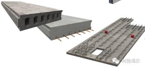 半预制构件是将单层或两层混凝土板和桁架钢筋预制在一起.图片