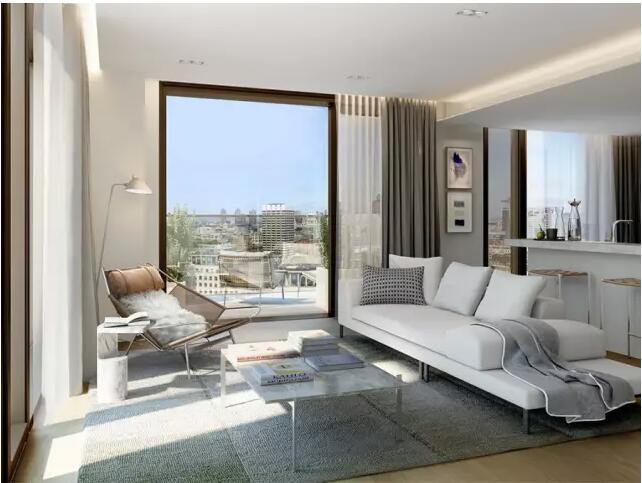 one york住宅楼 设计师将设计的重点 大部分窗户都采用落地窗 让阳光