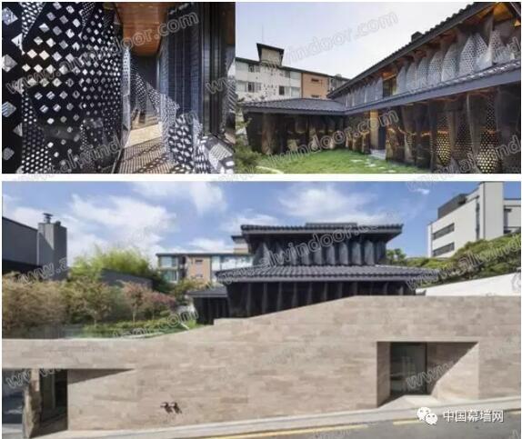 红色韩式屋顶瓦和砖块.