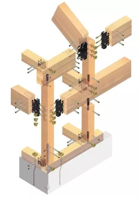 使用地脚螺栓连接固定;木结构承重框架中,柱与梁之间,使用se钢制连接
