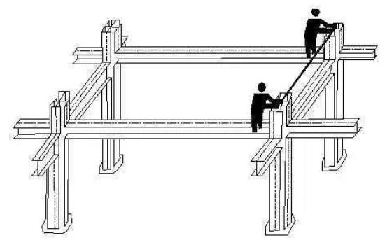 对于设计有柱间支撑的立柱,可借助安装柱间支撑,以增强结构稳定性.