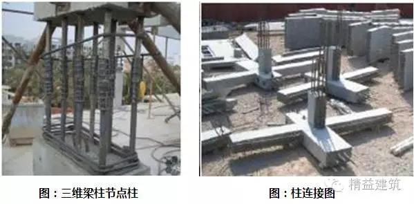 采用的一种全预制装配式框架结构,采用预制的三维梁柱节点(如下左图)