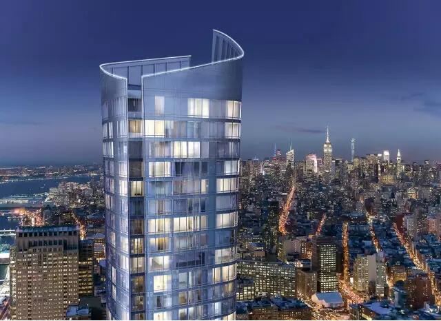 建筑设计 111 Murray Street 高耸的轮廓 以大胆的新姿态装扮了纽约市的天际线 由备受赞誉的 建筑师事务所 KPF 操刀 大楼如雕刻般缓缓向上延伸 包裹在64层大楼的弧形玻璃尽显优雅  设计有天蓬的入口 采用柔和的弧形线条 环绕在景观花园之中 为归途营造优雅、恬静的归属感 优雅的入口为归家的人提供休憩之所 立刻远离城市的喧嚣  大厅 由 David Rockwell 设计 24小时开放大厅是去往 多个不同空间的必经之处 见证着每一天的时光流转 大厅混用各种粗线条的天然材料 包括阳极氧化钢制