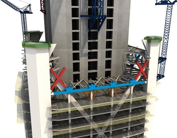 工程概况: 建筑高度约为597米,地上共117层,3层地下室。首层平面尺寸约65米65米,整体呈四棱台体,渐变至顶层时平面尺寸约45米45米。中央混凝土核心筒为矩形,平面尺寸约34米37米。 结构体系为: 巨型钢支撑筒-巨型钢框架-钢筋混凝土劲性核心筒多重结构抗侧力体系。楼板系统采用钢梁、压型钢板和混凝土组成的组合楼板系统。 双层带状桁架安装流程: 第一步:桁架下弦分段制作,在现场地面拼装成两段,先进行较短一段吊装。下弦下部中间两次柱安装H型钢支撑,采用千斤顶对桁架下弦杆进行支撑和标高的调节。  第二