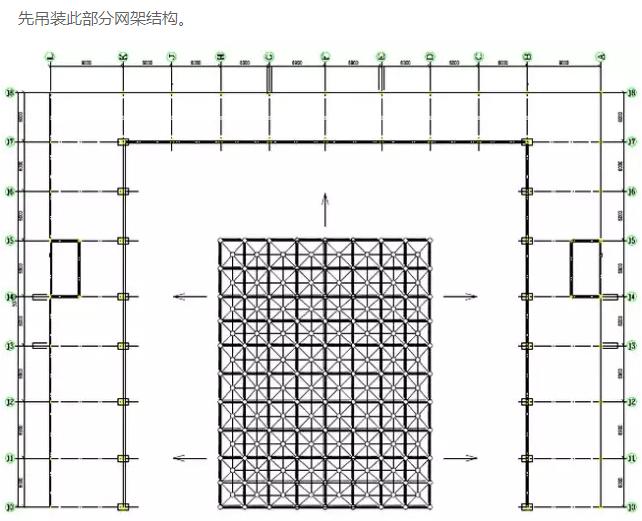 工程简介 本方案为网架大棚工程,屋盖为钢网架结构,支撑形式为上弦支撑螺栓球节点。材料主要为钢管和螺栓球,采用高强度螺栓连接。根据本方案的特点钢网架的安装方法为:网架结构在地面拼装,利用拔杆及绞磨作为起重设备,采用分块吊装的安装方法进行安装。 工程材料 1.网架杆件采用高频焊管或无缝钢管。杆件、支座、钢板、肋板其材质选择《碳素钢结构钢》GB700-88的Q235B材质。 2.