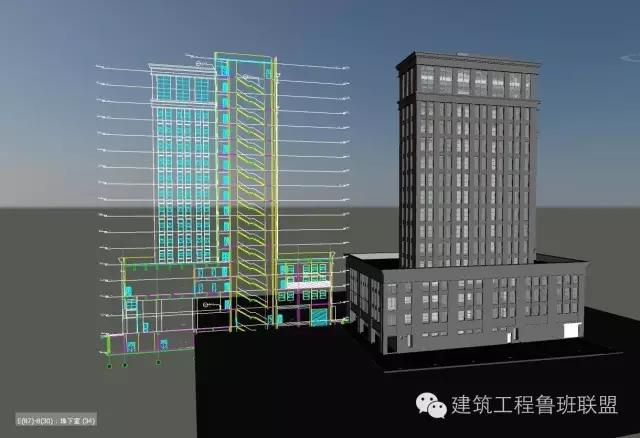 > bim建模施工  示例项目为一个地下一层的地下室车库的bim模型,在