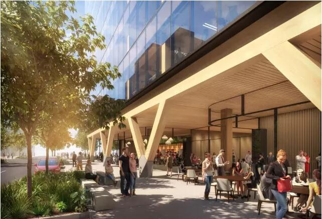 总部位于澳大利亚的BatesSmart事务所近日发布了5King计划。它是澳大利亚的高性能商业空间,也是该国最高的工程木材建筑。建筑高52米,它还将成为总楼面面积(GFA)世界第一的工程木材办公楼。5King基于连接自然和环境保护概念,将采用交错层压木材(CLT)结合胶合层积材(Glulam)来实现钢筋混凝土结构强度的低碳排放量表现。  我们把木材建筑视为未来的办公场地,它符合未来创意阶层寻找的那种丰富环境,能够帮助提高舒适感和生产力。BatesSmart总监Philip Vivian表示。木材建