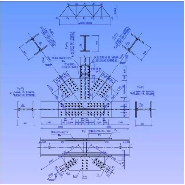 钢结构图  钢结构 由型钢连接而成的结构物,例如:钢梁、钢屋架、钢塔架、钢脚手架等。  钢结构图 用来表示钢结构的图样。  型钢 型钢是由钢厂按照标准规格轧制而成的钢材,其断面形状如尺寸是定型的,例如:角钢、工字钢、槽钢等。  型钢的代号及标注   钢结构中型钢的连接方法  焊接  铆接  螺栓连接 一、焊接 将被连接的型钢在连接部位加热使其和焊条熔化,凝结后成为不可分割的整体。 1、焊缝类型及其符号  坡口焊缝  贴角焊缝  塞焊缝  焊缝的图形符号和辅助符号  2、焊缝的标