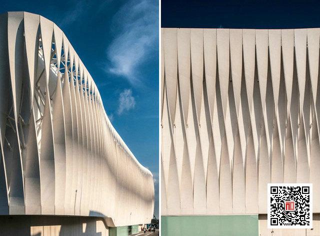 为使该建筑呈现与众不同的形象,设计师进行了大量的实验,以复杂的几何